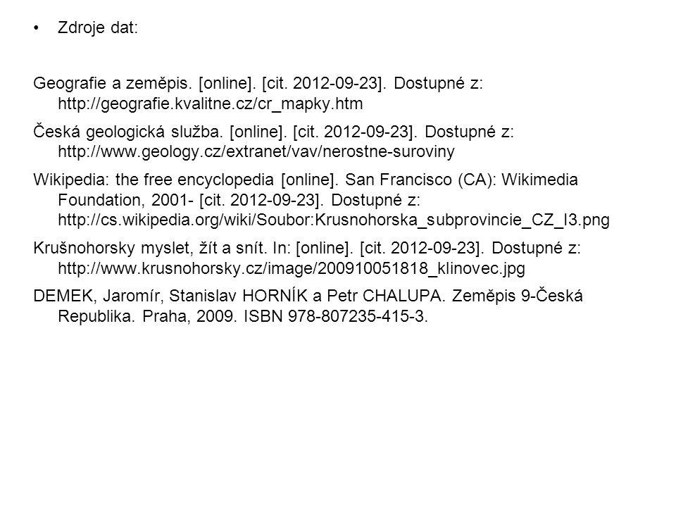 Zdroje dat: Geografie a zeměpis. [online]. [cit. 2012-09-23]. Dostupné z: http://geografie.kvalitne.cz/cr_mapky.htm.